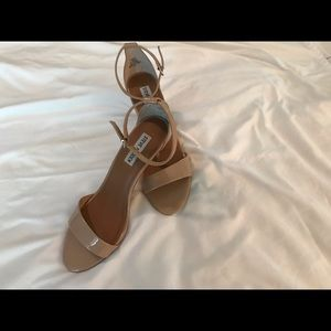 """Steve Madden nude open toe shoes with 3"""" heels."""